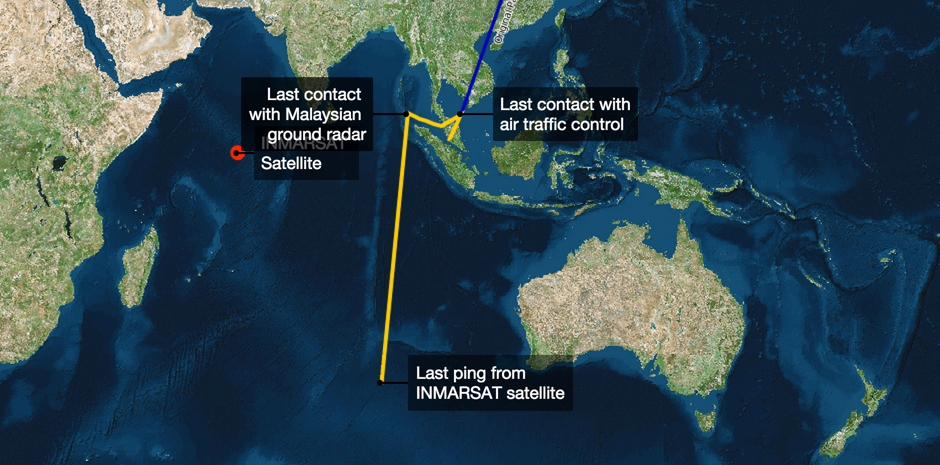 Malaysia Flight MH370 on a Map